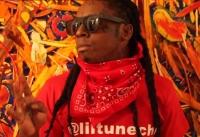 Lil Wayne wearing SUPER Flat Top Leather Black